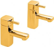DoratO Moderno Hot and Cold Basin Taps in 24ct Gold